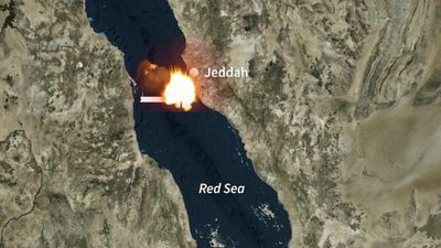 Explosions on an Iranian tanker