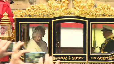 The Queen arrives at Westminster for Opening of British Parliament