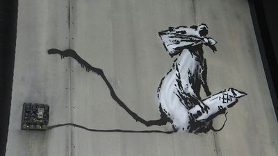 A copy of Banksy's stolen rat produced for Paris street art exhibition