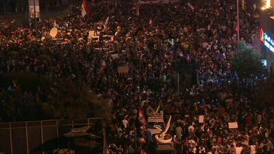 Protesters rally in Lebanese capital for third night