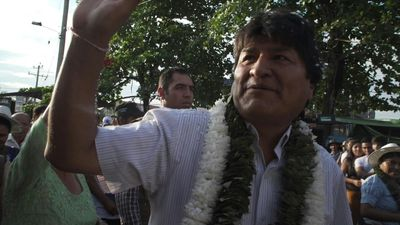 Supporters greet Bolivia's Evo Morales before vote