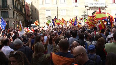 Ciudadanos hold rally outside Catalonia's regional government
