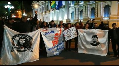 Evo Morales supporters celebrate alleged electoral win