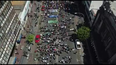 Aerial shots of thousands of protesters in streets of Chile