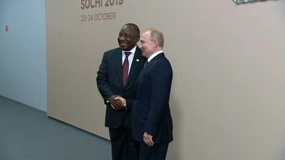 Vladimir Putin meets with Cyril Ramaphosa at Russia-Africa summit