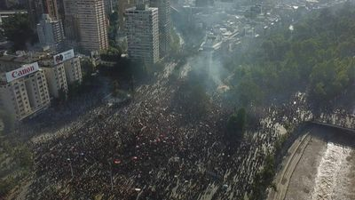 Drone images show thousands of protesters in Santiago