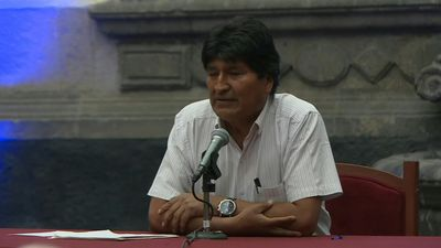 Bolivia's Morales gives a press conference