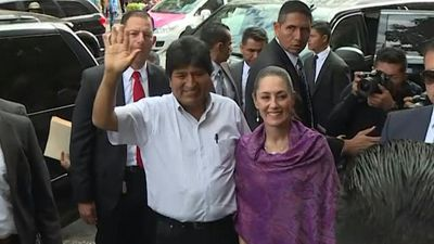 Mexico City mayor Sheinbaum greets Evo Morales
