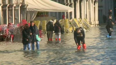 Floodwaters continue to cover Venice's San Marco Square