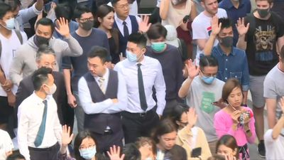 Lunch hour protest in Hong Kong's business district