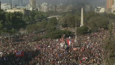 Thousands gather at Chile's Italy Square for anti-govt protest