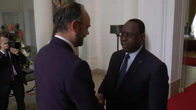 Senegalese President Macky Sall meets with French Prime Minister Edouard Philippe in Dakar
