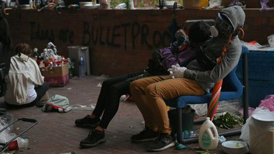 Hong Kong student protesters rest after intense clashes