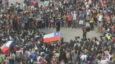 Protesters gather in Italy Square in Santiago