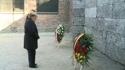 German Chancellor Angela Merkel pays tribute to Auschwitz victims