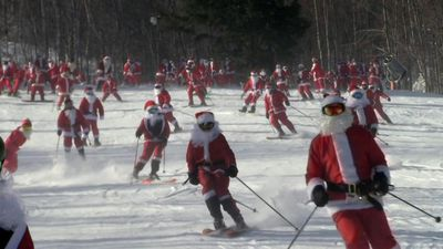Oh, what fun it is to ski with Santas