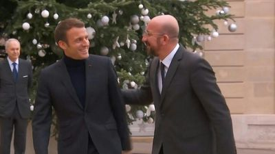 Emmanuel Macron welcomes Charles Michel, President of the European Council