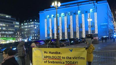 Handke faces protests at Nobel Prize ceremony