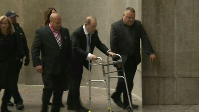 Harvey Weinstein arrives at NYC court for hearing on bail conditions