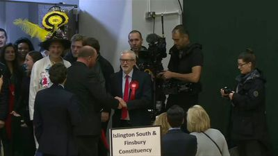 UK Labour leader Jeremy Corbyn appears at polling station as party prepares for defeat in snap elect