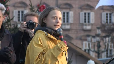 Greta Thunberg gives a speech in Turin for a Fridays for the Future demonstration