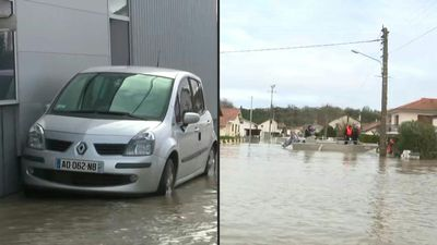 Flooded streets and homes in southwest France after storms