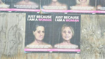 Artist uses 'battered' faces of famous women to highlight gender violence