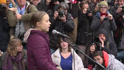 Greta Thunberg attends climate demo in Lausanne