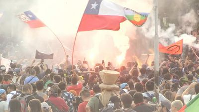 Thousands gather in main protest square in Chile capital