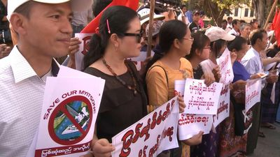 Rally against reinstatement of Chinese-backed mega-dam in Myanmar during Xi visit