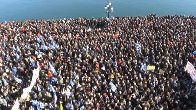 Thousands protest against migrant camps in Lesbos