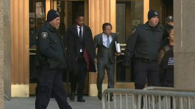 Actor Cuba Gooding Jr and his lawyer leave court in New York