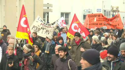 Protesters march in French city of Nantes against pension reform