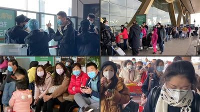 China virus: Temperature checks at Kunming airport