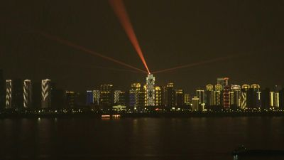 China virus: Light show and words of encouragement in Wuhan