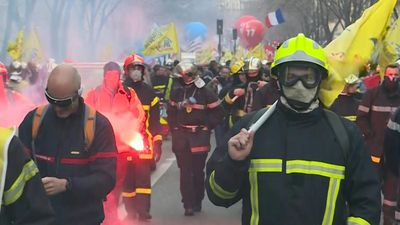 French firemen march in Paris against pension reform