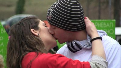 Serbia: Couples take part in annual longest kiss contest on Valentine's Day