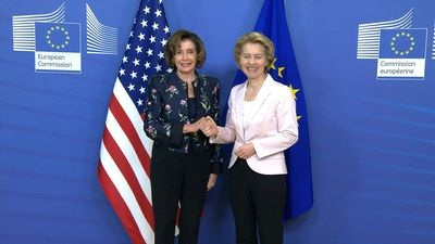 US Speaker of the House Nancy Pelosi meets EU's Ursula von der Leyen