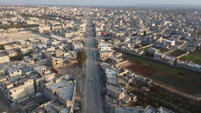 The abandoned and destroyed Syrian city of Atarib