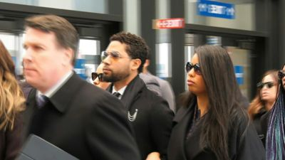 Jussie Smollett arrives at court as he's accused of fabricating crime