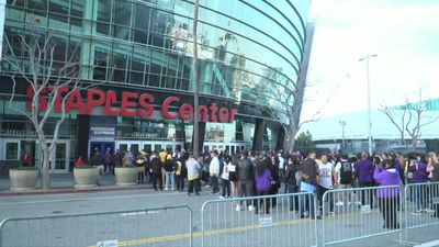 Fans gather outside Staples Center ahead of Kobe Bryant Memorial