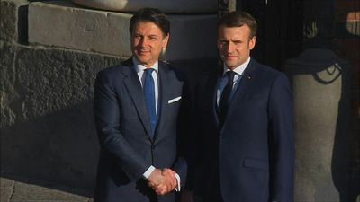 Macron and Conte arrive for France-Italy summit in Naples