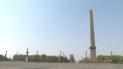 Place de la Concorde in Paris deserted on 12th day of coronavirus lockdown