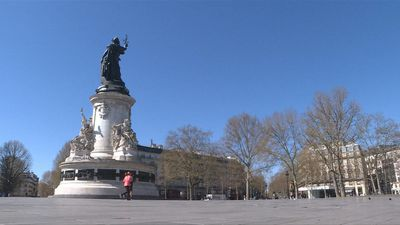 Paris's usually busy Place de la Republique deserted on day 14 of virus lockdown