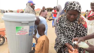 Nigeria's displaced camps set up hygiene stations