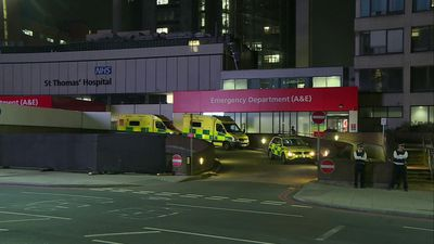 Scene outside St Thomas' Hospital where Boris Johnson is in intensive care