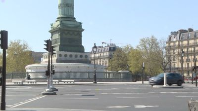 Coronavirus: Paris's Place de la Bastille near-empty on day 24 of lockdown