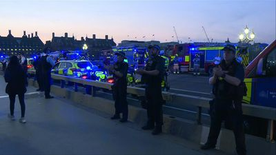 Police officers and firefighters clap in appreciation for healthcare workers on London's Thames
