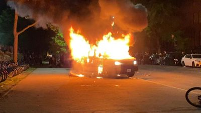 Police car set ablaze in New York during George Floyd protests
