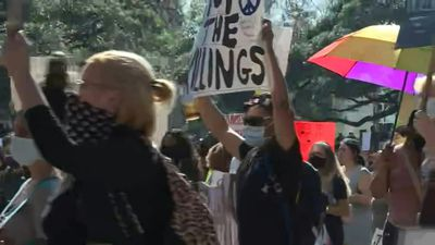 Protesters gather in George Floyd's hometown Houston